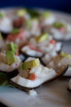 Mahi Mahi Cerviche on Coconut Shell with Avocado