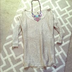 Beautiful gold sparkle sweater with cut out sleeve Brand new, so pretty the pics don't do it justice Tops