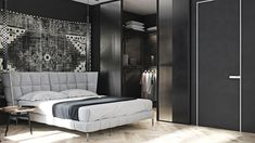 Architecture, Design & friendship - Two Black and Gray Homes with Chic Simplicity   ... Simple House Design, Stylish Bedroom, Luxury Homes Interior, Home Decor Bedroom, Gray Bedroom, Home Decor Inspiration, Decor Ideas, Interiores Design, Cheap Home Decor