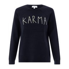 Embroidered with a Karma slogan in metallic threads, this jumper promises to make an impact in your casual outfits. It features cosy long sleeves and a classic round neck. Model wears UK S/EU Model height is 175 Slogan Tops, Karma, Jumper, How To Make, How To Wear, Casual Outfits, Boutique, Black And White, Sweatshirts