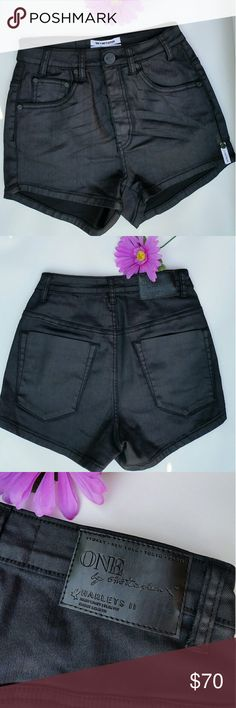 """🌻🌺ONE X ONE TEASPOON SHORTS🌺🌻 HARLETS II NEW WITHOUT TAGS. BLACK WAXED COATED . HIGH WAISTED.  SIZE 25. 78% COTTON,  20% POLYESTER,  2% ELASTHANNE.  ALL MEASUREMENTS ARE APPROX. 🔹WAIST 12"""" LAYING FLAT  🔹INSEAM 2"""" 🔹RISE 10"""" 🔹HIP 15.5"""" FEEL FREE TO ASK QUESTIONS  🔴 I DO NOT TRADE One Teaspoon Shorts Jean Shorts"""