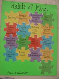 """Habits of mind study-beginning bulletin board. Initiate with a FEW puzzle pieces, doom string how the """"fit together."""" Given a blank puzzle piece students add their on contribution! Sign with your class Classroom Displays, Music Classroom, Classroom Norms, Thinking Skills, Critical Thinking, Habits Of Mind, 7 Habits, Instructional Coaching, Instructional Strategies"""