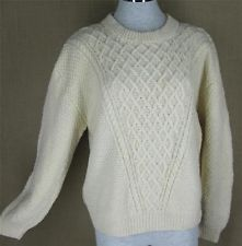 Vintage Wool Sweater Cable Fisherman L Ivory Snowflake  Oversized Hand Knit