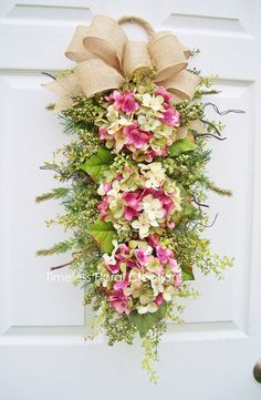 This Hydrangea Wreath Swag~ Spring Blossoms ~ Door decoration~Timeless Floral Creations is just one of the custom, handmade pieces you'll find in our wreaths shops.Say hello to spring with a cheery hydrangea swag. Wreath Crafts, Diy Wreath, Wreath Ideas, Tulle Wreath, Burlap Wreaths, Mesh Wreaths, Front Door Decor, Wreaths For Front Door, Front Doors