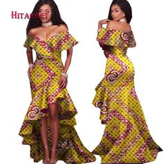 African Style Long Dress For Women Cotton Print Kitenge Ankara Sexy Slash Neck – African Fashion Dresses - African Styles for Ladies African Dresses For Women, African Print Dresses, African Attire, African Fashion Dresses, Fashion Outfits, African Outfits, Fashion Ideas, Fashion Styles, African Clothes