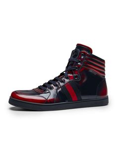 Gucci | Coda Burnished High-Top Sneaker, Red/Blue #gucci #sneakers