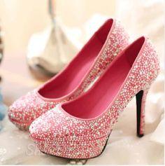 Elegant Pink Coppy Leather Platform High Heel Shoes with Rhinestone Decoration