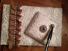 Embellished guest sign in book w burlap and rhinestones