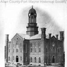Photograph of the Allen County Courthouse, Fort Wayne, Indiana, under construction. 1861