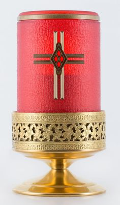 Cylinder Tribute Flameless Alter/Memorial Candle with Cross