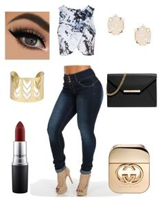 """""""Hottie"""" by sashelly-martinez on Polyvore featuring Topshop, Gucci, Kendra Scott, MAC Cosmetics and MICHAEL Michael Kors"""