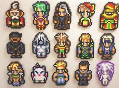 Final Fantasy 6, Perler Bead Art, aimants pour réfrigérateur, FFVI 8 bit pixel, Sabin, Mog, Edgar, Terra, Gau, Cyan, Sara, Kefka, Celes, ombre, rétro