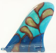 Rainbow Fin - Justin Quintal noserider in stained glass 1 of a kind surfboard fin.  USA MADE