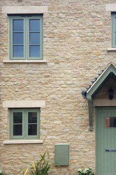 Exterior Window Frame Ideas Courtyards 47 Ideas For 2019 Porch Windows, Cottage Windows, Green Windows, Timber Windows, Casement Windows, House Windows, Windows And Doors, Window Frame Colours, Grey Window Frames
