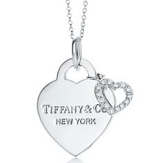TIFFANY CO DOUBBLE HEART BEATED NECKLACE
