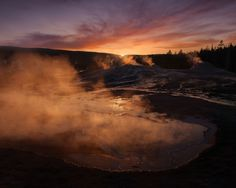 Heart Spring and Lion Group Geysers at sunset Upper Geyser Basin Yellowstone National Park Wyoming | Photo by Ian Plant . . . . . . . . . . . #photograph #photographer #travelmore #exploremore #openmyworld #dreamscape #outdoorphotography #outdoor #photos #photography #landscape #landscapephotography #landscapephotographer #landscapelovers #moutnains #mountain #hiker #travel