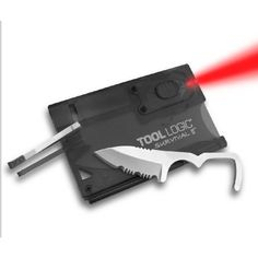 Tool Logic SVC2 Survival Card with Fire Starter and Light, Charcoal Tool Logic