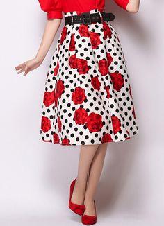 White Polka Dot Rose Print Skirt