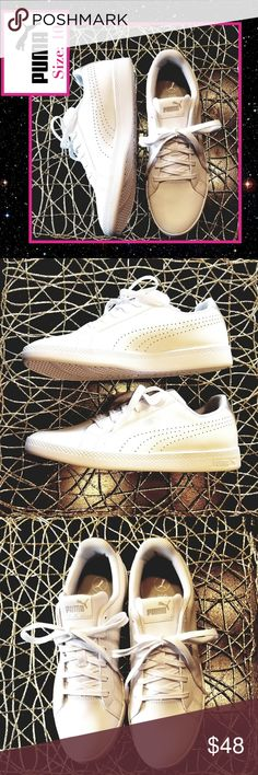 FRESH CLEAN PUMA KICKS (BRAND NEW) There is NOTHING like a Clean Pair of New Kicks. These PUMA's are a Smash Hit, its a new take of the iconic court icon. The leather upper receives a clean update with a perforated PUMA form stripe and color popped heel part. Puma Shoes Sneakers Pumas Shoes, Shoes Sneakers, Plus Fashion, Fashion Tips, Fashion Design, Fashion Trends, Fresh And Clean, Color Pop, Kicks