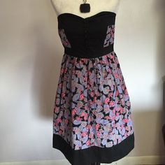 """Kimchi Blue Strapless Floral Dress- XS Lovely pink & purple flowers against a black background- black elasticized bodice with button down front. Perfect condition! Length is 26"""" Urban Outfitters Dresses Strapless"""