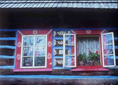 Wooden house decorated with murals. Ždiar (district Poprad), 2 half of the century. Archive slide Institute of Ethnology. Photo S. Schengen Area, Heart Of Europe, Big Country, Church Building, Wooden House, Central Europe, Bratislava, Eastern Europe, Photo S