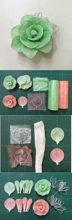 EL MUNDO DEL RECICLAJE: DIY flores con bolsas de plástico
