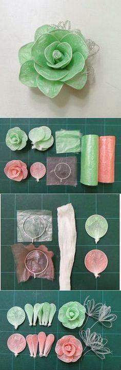 DIY flores con bolsas de plástico