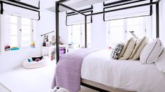 The Must-See Shoe Closet of Jimmy Choo's Founder// kids rooms, roman shades, canopy bed