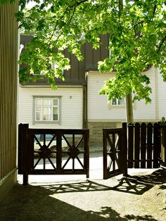 Vallila, old wooden Helsinki, Finland Nordic Classicism, Finnish Language, Beautiful Homes, Beautiful Places, Summer Loving, Scandi Style, Arches, Small Towns, Gates