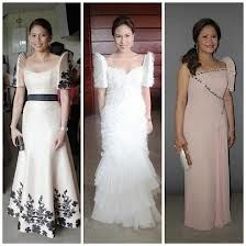 pinay style: the terno barong Modern Filipiniana Gown, Filipiniana Wedding, Rustic Wedding Gowns, Wedding Dresses, Wedding Ideas, Philippines Fashion, Philippines Culture, Traditional Dresses, Traditional Fashion