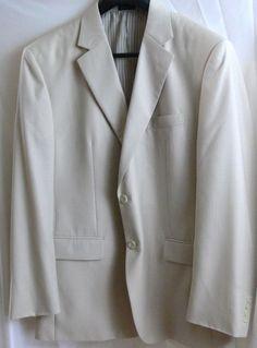 STAFFORD Essentials 44R Blazer Light Beige Sport Coat 2 Button Suit Jacket  #Stafford #TwoButton