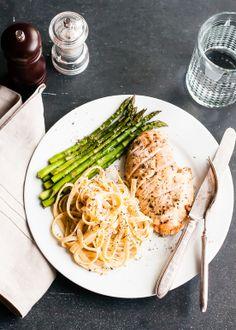 #Recipe / Orange-Herb Fettuccine Alfredo with Creme Fraiche and Baked Chicken