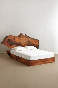 Live Edge Wood Bed {I especially love the view on page It shows the bed frame without the mattress on it, and it's gorgeous! It won't let you save the image though, so you'll have to see it on their page} Live Edge Furniture, Rustic Furniture, Bedroom Furniture, Furniture Design, Bedroom Decor, Wc Decoration, Live Edge Wood, Style At Home, Wood Beds