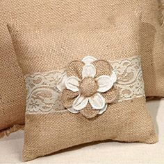 Small Posey Floral & Lace French Burlap Accent Pillow - 8-in x 8-in