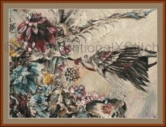 Modern counted cross stitch pattern An Offering for Absolution surrealism bird and flowers pattern v2 by UnconventionalX on Etsy