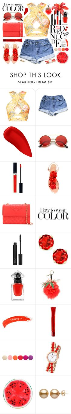 """""""red flower croptop"""" by jk802 ❤ liked on Polyvore featuring Lipstick Queen, ZeroUV, Christian Dior, Charlotte Olympia, Tory Burch, Guerlain, Fendi, Topshop, Mamonde and Deborah Lippmann"""