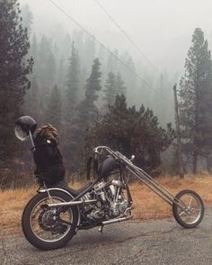 "grumpyjay: ""biltwellinc: ""There are choppers and then there are CHOPPERS! Matty South has one in all caps "" "" Panhead chopper"
