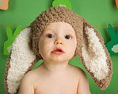 6 to 12m Easter Bunny Hat Bunny Hat Baby Beanie - Crochet Baby Hat in Brown, Cream, Unisex Flopsy Rabbit Hat  - Baby Bunny Photo Prop