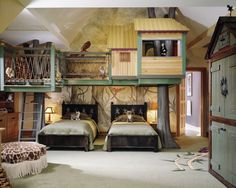 This is such an awesome room! My son would love a tree house bedroom..