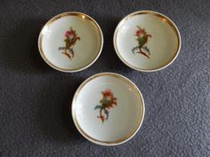 """Set of 3 - 1880's Charles Haviland & Co. Limoges """"Moss Rose"""" Pattern Individual Butter Pats"""