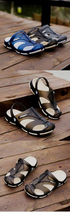 cc831d46cac6 Men Anti-collision Toe Hollow Out Breathable Slip On Casual Beach Shoes is  comfortable to wear