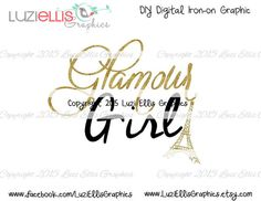 Glamour Girl Gold Glitter Eifel Tower Girly by LuziEllisGraphics T Shirt Transfers, Gold Glitter, My Etsy Shop, Tower, Girly, Place Card Holders, Glamour, Digital, Trending Outfits