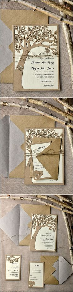 Rustic Country Eco Chic Laser Cut Tree Wedding Invitations by shesawildflower Country Wedding Invitations, Rustic Invitations, Wedding Stationery, Invitation Envelopes, Invitation Wording, Invitation Ideas, Invitation Cards, Invites, Wedding Cards