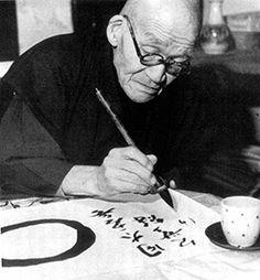 Zen Master Sawaki Kôdô practicing calligraphy by Arthur Braverman