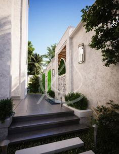 A decorated section along the boundary wall of the traditional Arabic house breaks the monotony of the expanse of the white stucco and highlights a minimal water fountain, creating a cozy pathway, by Comelite Architecture, Structure and Interior Design. System Architecture, Islamic Architecture, Design 24, Modern Design, House Design, Versailles, Boundary Walls, Mawa Design, Courtyard Design