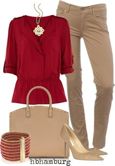 """No. 176 - Beige & red"" by hbhamburg ❤ liked on Polyvore"