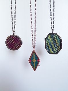 Cross stitch lockets  I'd sure like to know how to make those!