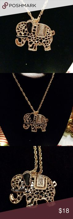"""🐘 🎀 ELEAGENT ELEPHANT GOLD  & BLACK W/RHINESTONE Elegant ELEPHANT🐘 GOLD  & BLACK  with rhinestones.💎 Chain is 14"""" on each side. Makes a great gift for any occasion. 🎁 Jewelry Necklaces"""