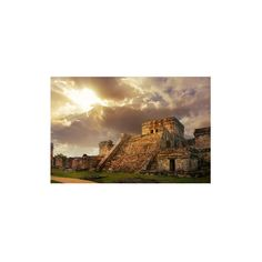 Mayan Castillo Tulum Mexico Wall Art Print (£8.36) ❤ liked on Polyvore featuring home, home decor, wall art and architectural wall art