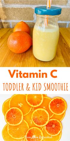 A smoothie recipe filled with foods high in Vitamin C for toddlers, kids, and adults! This easy recipe is quick to make and good for snacks or breakfast. Smoothie Recipes For Kids, Healthy Eating Recipes, Healthy Drinks, Baby Food Recipes, Healthy Lunches, Health Recipes, Detox Recipes, Toddler Smoothies, Smoothies For Kids